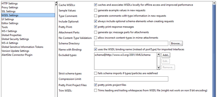The WSDL Setting tab
